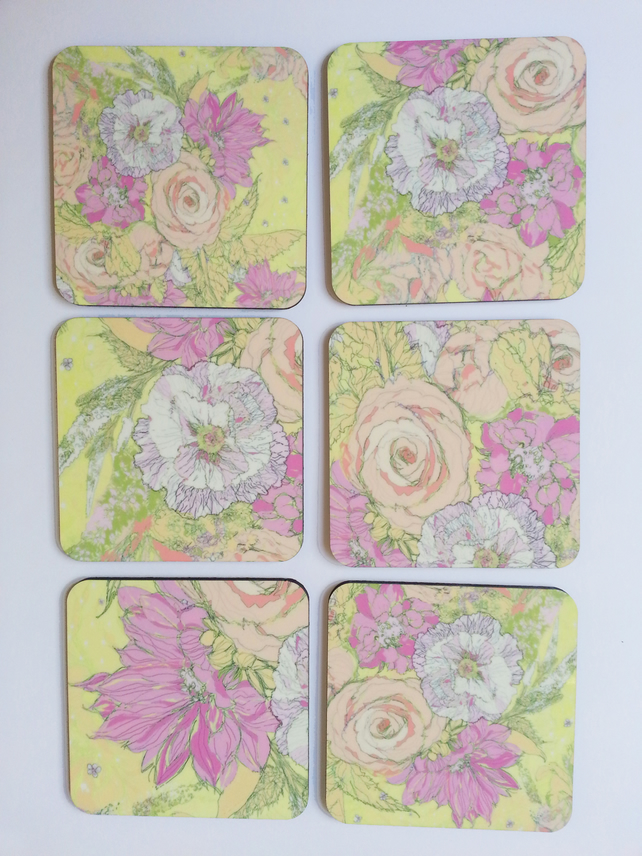 Coaster set of six( sketched flowers lemon yellow)