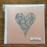Stencil Heart With Love Card