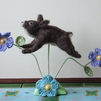 Needle-felt Leaping Rabbit