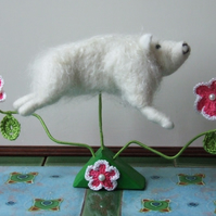Needle-felt Leaping Sheep