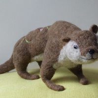 Decorated needle-felt otter