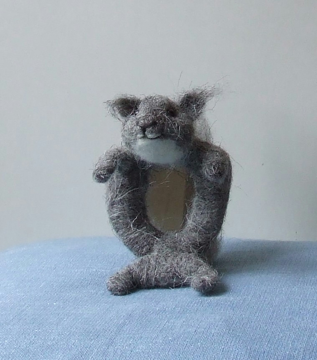 Needle-felt squirrel mirror