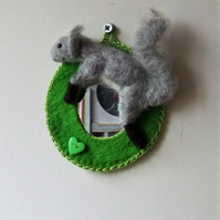 Felt squirrel mirror
