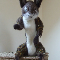 Large needle-felt decorated rabbit