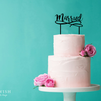 Married - acrylic cake topper