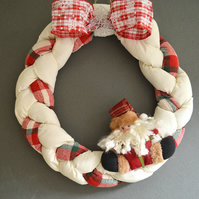 WAMC Classic Handmade Wreath. Classic Christmas decoration in white and red