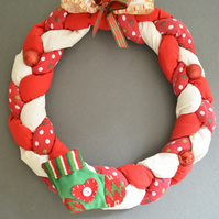 WAMC Classic Handmade Wreath. Classic Christmas decoration with small stocking