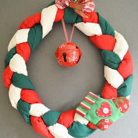 WAMC Classic Handmade Wreath. Traditional wreath with stocking and bell detail
