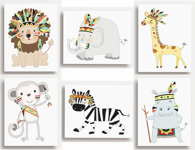 Set of 6 Jungle Safari Animal PRINTS - no frames