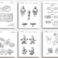 LEGO Patent Prints - Set of 6 - Quirky gift for all LEGO lovers (unframed)