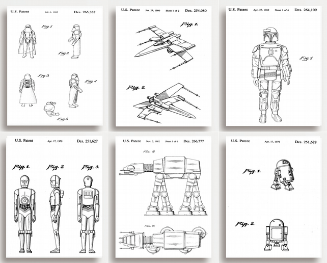 STAR WARS Patent Prints - Set of 6 - Quirky gift for STAR WARS lovers (unframed)