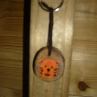 Wooden tiger fob and keyring, handpainted and varnished