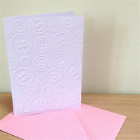 BUTTONS Pack of 6 Embossed Cards (No.14) - Blank Cards