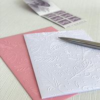 FEATHERS Pack of 6 Embossed Cards (No.54) - Blank Cards