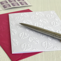 LIPS & KISSES Pack of 6 Embossed Cards (No.20) - Blank Cards