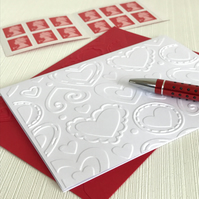 LAYERED HEARTS Pack of 6 Embossed Cards (No.7) - Blank Cards