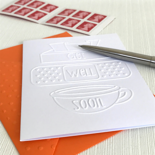 GET WELL Pack of 6 Embossed Cards (No.5) - Blank Cards
