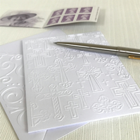 CROSSES Pack of 6 Embossed Cards (No.3) - Blank Cards
