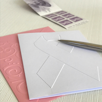 AWARENESS RIBBON Pack of 6 Embossed Cards (No.12) - Blank Cards
