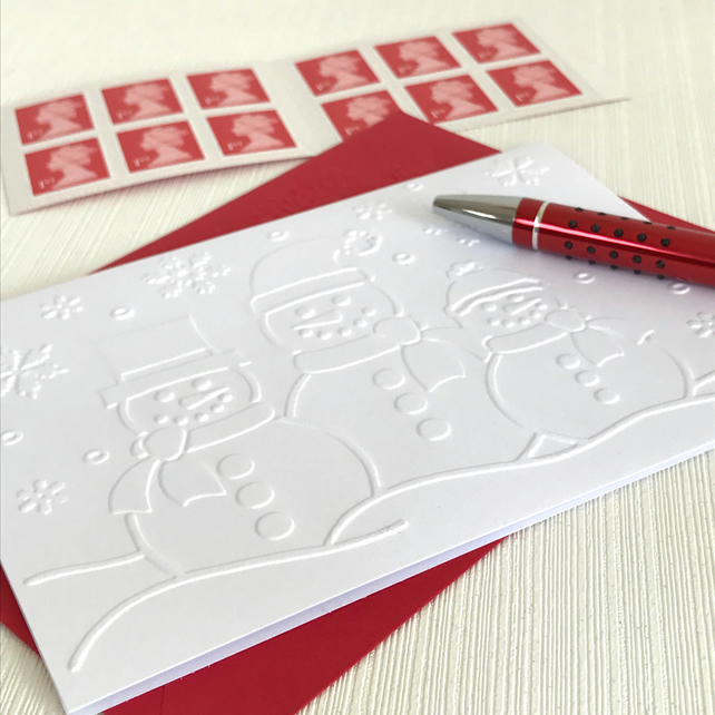 THREE SNOWMEN Pack of 6 Embossed Cards (No.145) - Blank Cards