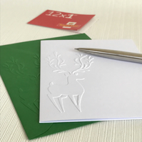 REINDEER Pack of 6 Embossed Cards (No.142) - Blank Cards