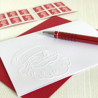 TRADITIONAL SANTA FACE Pack of 6 Embossed Cards (No.136) - Blank Cards