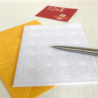 LATTICE CIRCLES Pack of 6 Embossed Cards (No.111) - Blank Cards