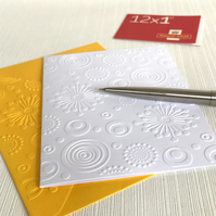 RETRO CIRCLES Pack of 6 Embossed Cards (No.110) - Blank Cards