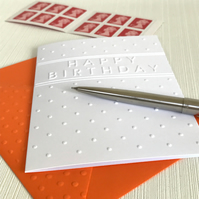 HAPPY BIRTHDAY DOTS Pack of 6 Embossed Cards (No.66) - Blank Cards