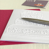 3 TIER CAKE Pack of 6 Embossed Cards (No.64) - Blank Cards