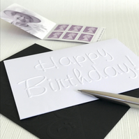 HAPPY BIRTHDAY SCRIPT Pack of 6 Embossed Cards (No.62) - Blank Cards