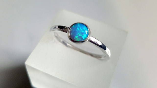 Sterling Silver Stacking Ring, with a 6mm cabochon blue opal. Size to your order