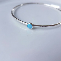 Silver Stacking Bangle with blue opal