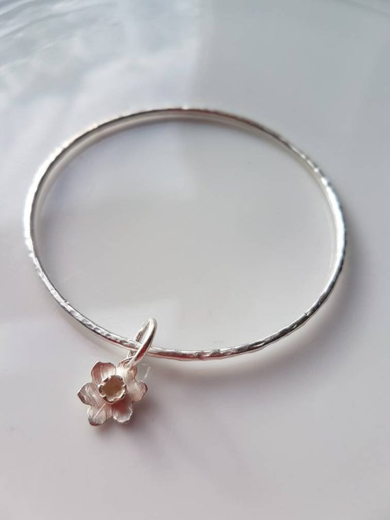 Sterling Silver Bangle with small daffodil, handmade daffodil