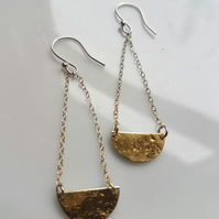 Organic Geometric Earrings in Sterling silver with a touch of 9ct gold