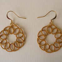 Ochre circular dangle earrings