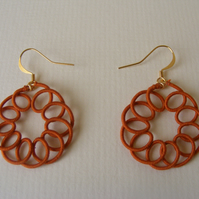 Terracotta circular dangle earrings