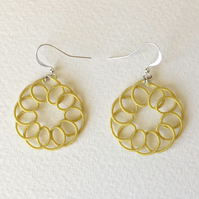 Pastel yellow dangle earrings, thread wrapped