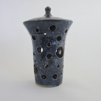 Ceramic Blue Candle Holder With Lid By Celf Dragon Heart
