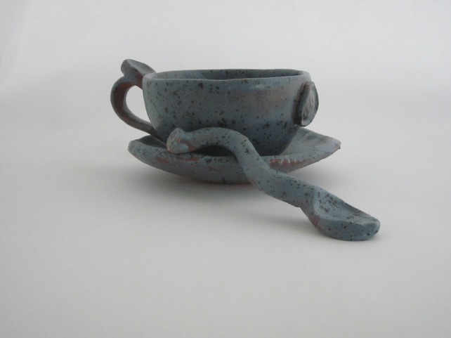 Handmade, Cup, Spoon And Saucer, by Celf Dragon Heart Pottery