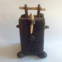 Japanese Style Black Clay Tea Caddy By Terrence J Bunce MA