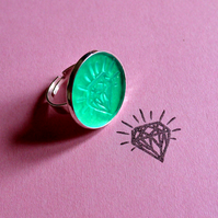 Rubber stamp ring diamond