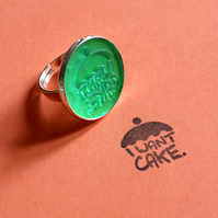 Rubber stamp ring I want cake