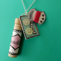Sewing kit charm necklace