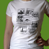 LAST ONE MEDIUM white polaroid city ladies tshirt