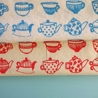 x2 printed teapot fabric