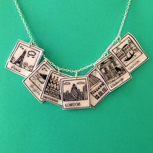 Polaroid cities charm necklace.