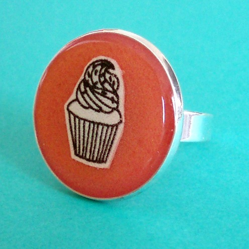 *SALE* Cupcake adjustable silver ring