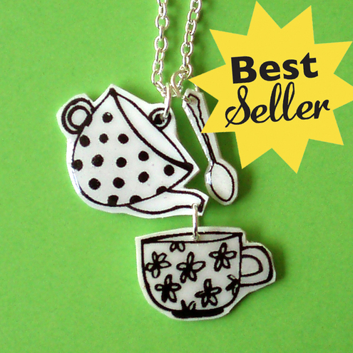 Tea set pendant silver
