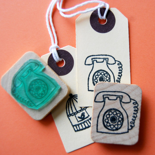 Vintage phone illustration rubber stamp